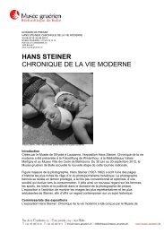 sur l'exposition Hans Steiner à Bulle - Memoriav