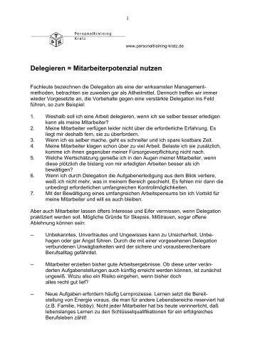 Delegieren = Mitarbeiterpotenzial nutzen - Personaltraining Kratz