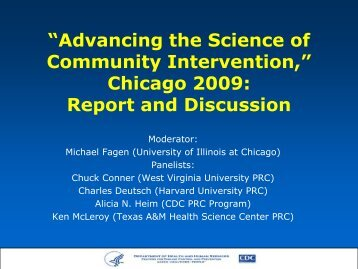 Advancing the Science of Community Intervention - Society for ...