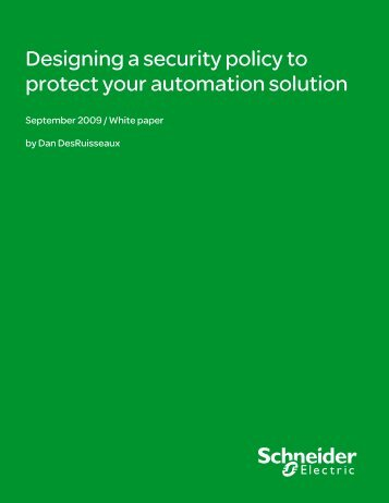 Designing a security policy to protect your ... - Schneider Electric