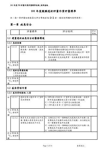 101年度腹膜透析評量作業評量標準表格 - 臺灣腎臟護理學會