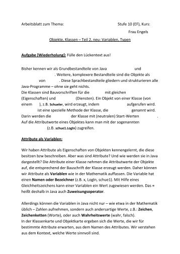 Frau Engels Objekte, Klassen – Teil 2, neu: Variablen, Typen ... - ZAIK