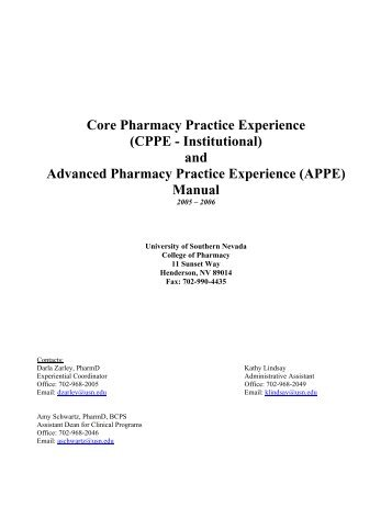 and Advanced Pharmacy Practice Experience (APPE) Manual