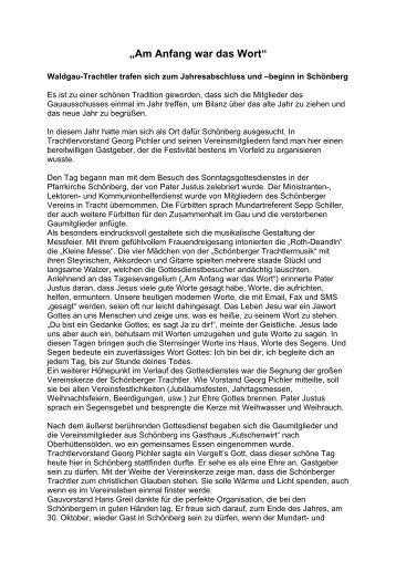 """""""Am Anfang war das Wort"""" - Bayerischer Waldgau"""