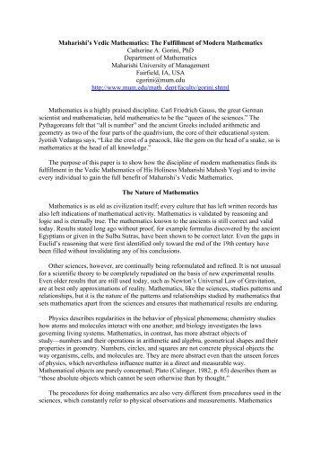 Maharishi's Vedic Mathematics - Maharishi University of Management