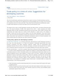 Trade policy in a time of crisis: Suggestions for developing countries