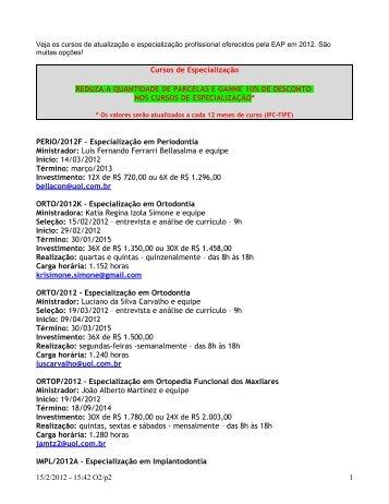 Cursos de Especialização REDUZA A QUANTIDADE DE ... - APCD