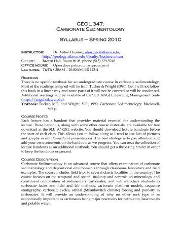 GEOL 347: Carbonate Sedimentology Syllabus – Spring 2010
