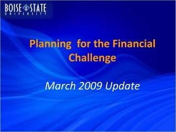Budget Planning for FY 2009-2010