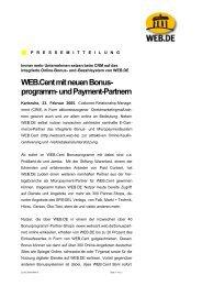 Web.cent mit neuen Bonus- programm- und Payment-Partnern