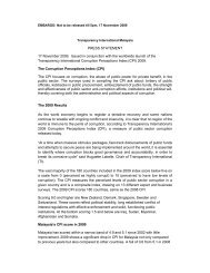 CPI 2009 Malaysia Results Press Statement - Transparency ...