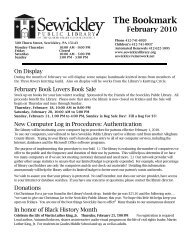 The Bookmark - Sewickley Public Library