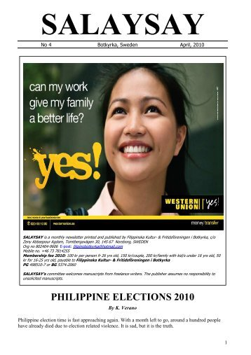 philippine elections essay The philippines' presidential election has received international media attention, in large part because of the outspoken, occasionally outlandish remarks of its victor, rodrigo duterte.
