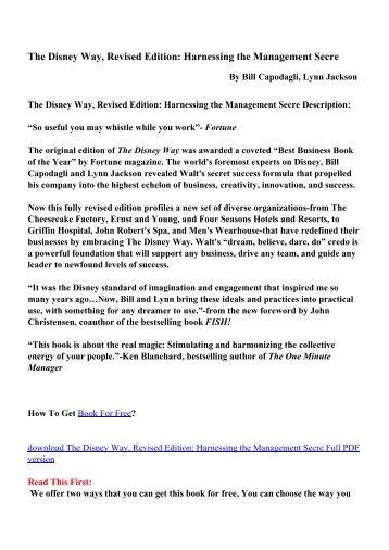 The Disney Way, Revised Edition - PDF eBooks Free Download