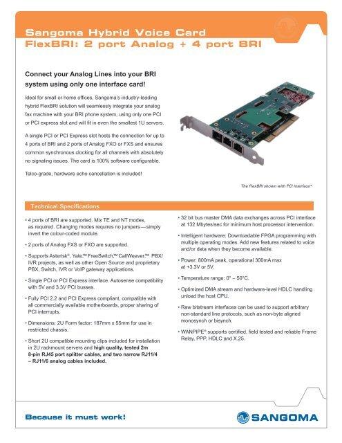 Sangoma Hybrid Voice Card FlexBRI: 2 port Analog + 4 port BRI