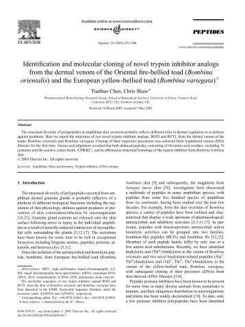 Identification and molecular cloning of novel trypsin inhibitor ...