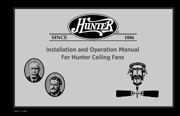 Installation and Operation Manual For Hunter Ceiling ... - Hunter Fan
