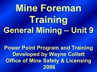General Mining – Unit 9 - Office of Mine Safety and Licensing