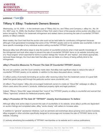 AMSTER ROTHSTEIN & EBENSTEIN LLP Tiffany V. EBay ...