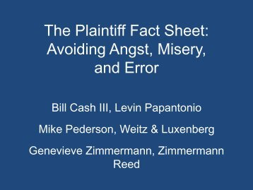 The Plaintiff Fact Sheet - Mass Torts Made Perfect