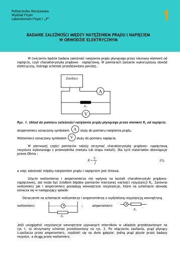 Badanie zależności między napięciem a natężeniem prądu w ...