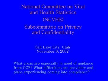 National Committee on Vital and Health Statistics (NCVHS ...