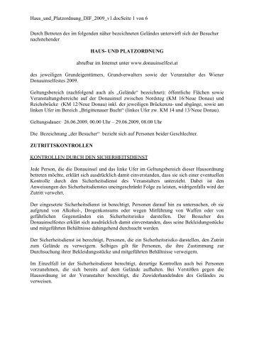 Haus- und Platzordnung - Donauinselfest 2009