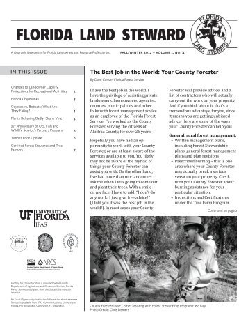 florida land steward - School of Forest Resources & Conservation ...