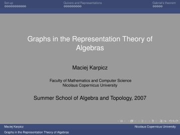 Graphs in the Representation Theory of Algebras