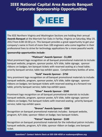 IEEE National Capital Area Awards Banquet Corporate Sponsorship ...