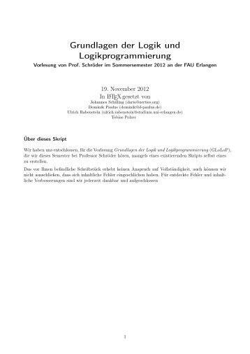 Grundlagen der Logik und Logikprogrammierung