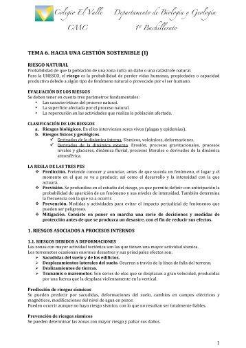 TEMA 6. HACIA UNA GESTIÓN SOSTENIBLE I - Biología El Valle