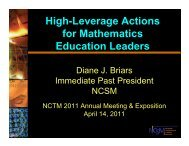 High-Leverage Actions for Mathematics Education Leaders - NCSM
