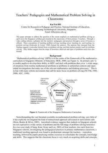 A study of classroom practices of six Primary 5 teachers teaching ...