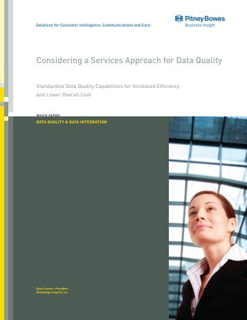 Considering a Services Approach for Data Quality - Pitney Bowes ...