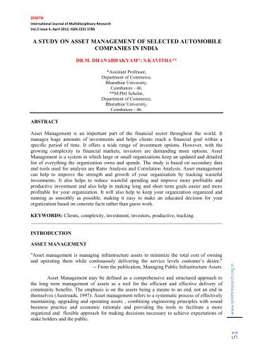 a study on asset management of selected automobile companies in ...