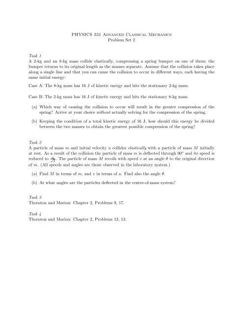 PHYSICS 331 Advanced Classical Mechanics Problem Set 2 Task
