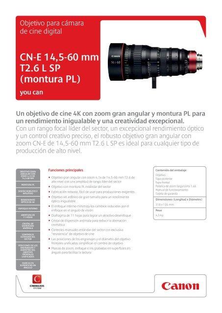 cn-e 14,5-60 mm t2 6 l sP (montura Pl) - Canon Europe