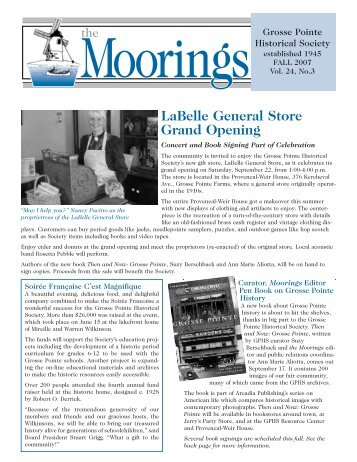 2007 Fall - Volume 24 No.3 - Grosse Pointe Historical Society