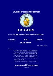 academy of romanian scientists - Academia Oamenilor de Stiinta din ...