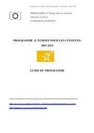 programme «l'europe pour les citoyens - Cités Unies France