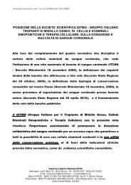 posizione della societa' scientifica gitmo - gruppo italiano trapianti di ...
