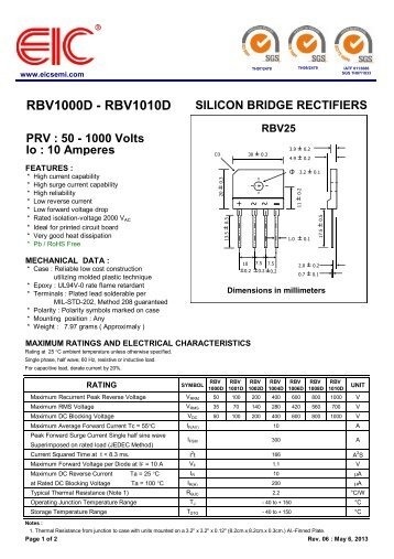 RBV1000D - RBV1010D : SILICON BRIDGE RECTIFIERS ... - EIC