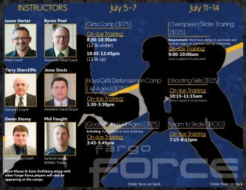 INSTRUCTORS July 11-14 July 5-7 - Fargo Force