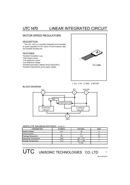 utc 1470 linear integrated circuit. Black Bedroom Furniture Sets. Home Design Ideas
