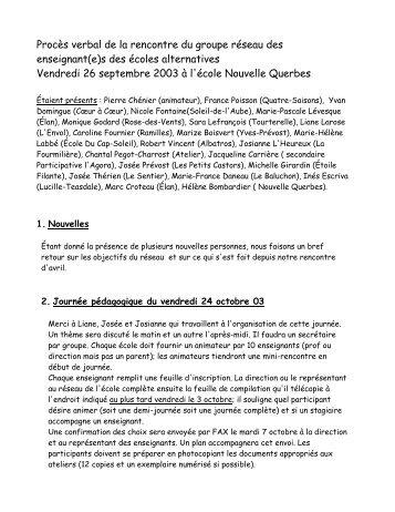 Réunion du 26 septembre 2003 - Réseau des écoles publiques ...