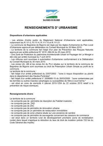 RENSEIGNEMENTS D' URBANISME - Bagnères de Bigorre