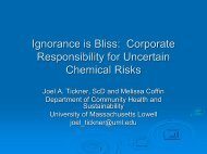 Ignorance is Bliss - Chemicals Policy & Science Initiative