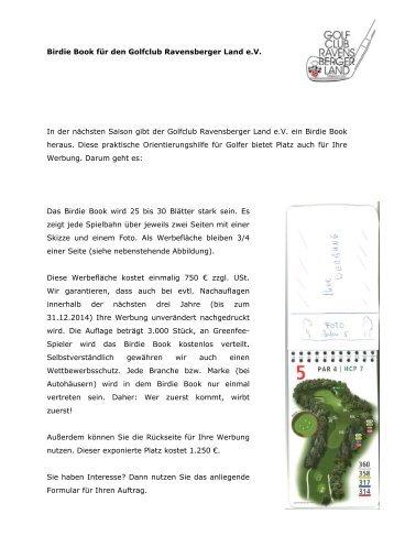 Birdie Book für den Golfclub Ravensberger Land eV In der nächsten ...