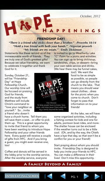 H A p p E N I N G s - Hope Fellowship Church
